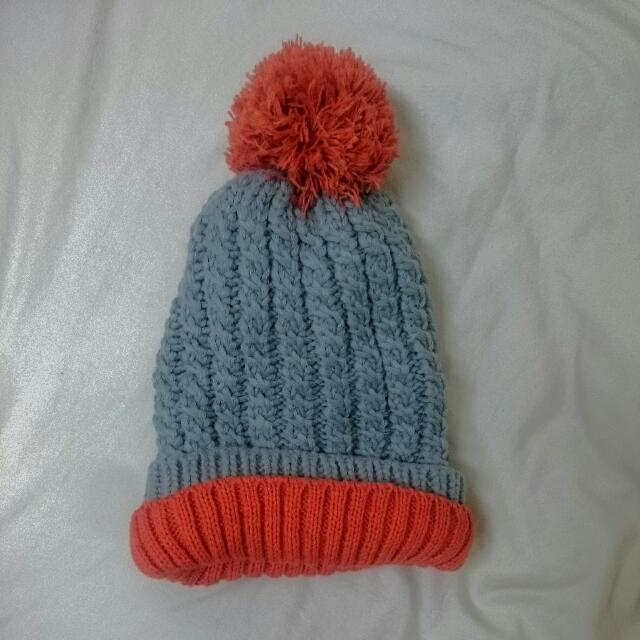 粗針織毛球毛帽