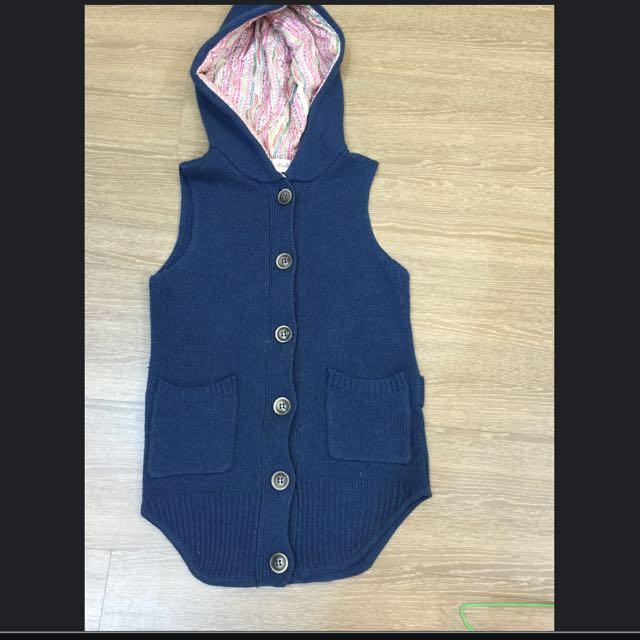 藍色針織背心外套