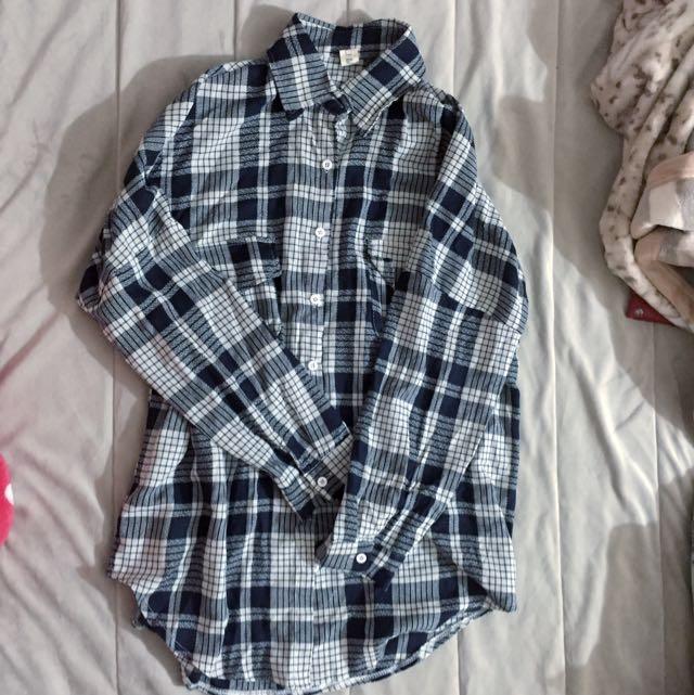 藍白格韓版寬襯衫
