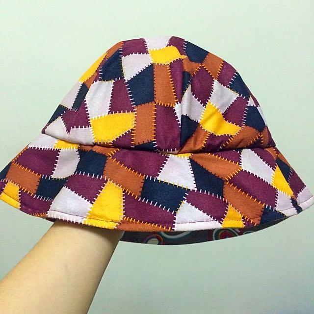 撞色縫線漁夫帽