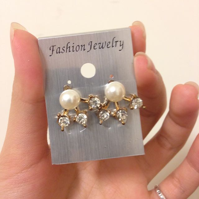 ✨降✨珍珠水鑽後扣式耳環