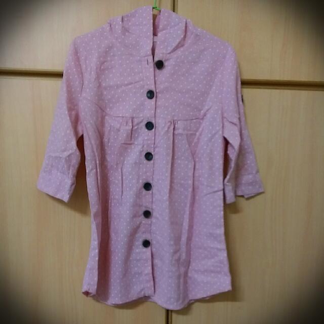 *二手*  粉色點點七分袖上衣