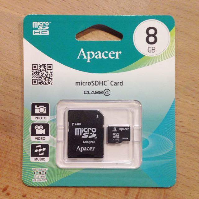 贈送 免費 Apacer宇瞻 8GB MicroSDHC Class 4 記憶卡