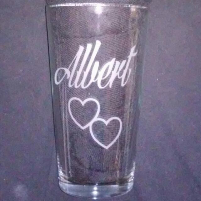 Albert 2hearts 16oz Cup Valentine's Gifts Presents Etchings Engravings