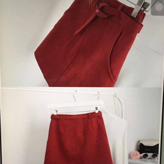 Maroons Suede Skirt