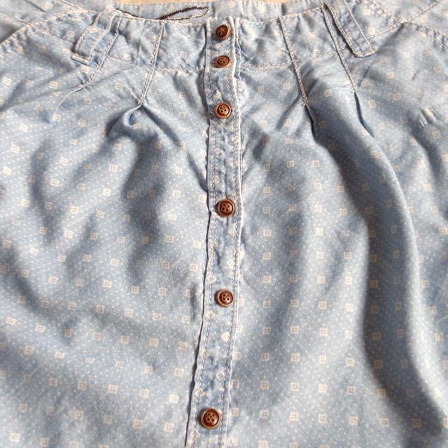 Size 34 Espirit Cotton Skirt in Light Denim