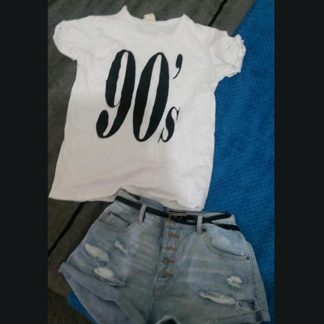 White 90s T Size Small