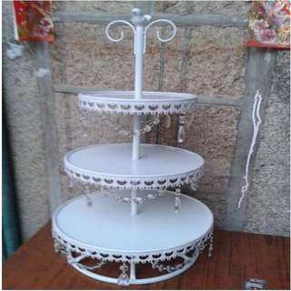 3 Tier White Cupcake Stand for Rental