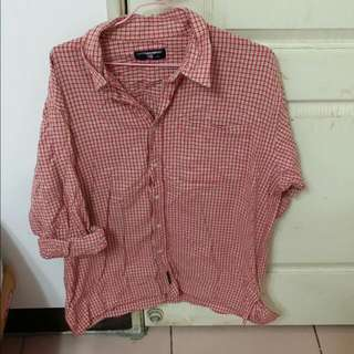 紅白 格子 襯衫 長袖 上衣