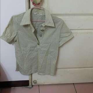 條紋 襯衫 短袖 上衣