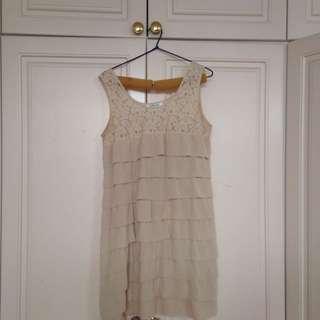 lollipop Cream Lace And Ruffle Dress