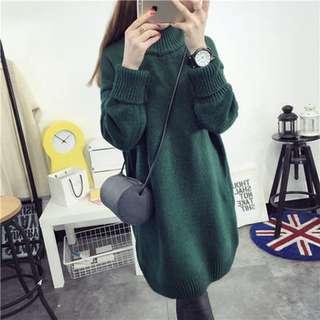 冬季中长款韩版高领加厚套頭大毛衣-墨綠色