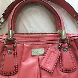 Authentic Coach Kristin Leather Pleated Satchel