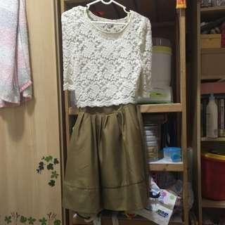 日本帶回 Snidel 日櫃品牌 蕾絲氣質駝色兩件式蓬裙洋裝