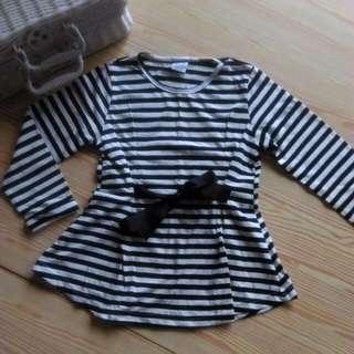 女童黑白線條娃娃裝上衣
