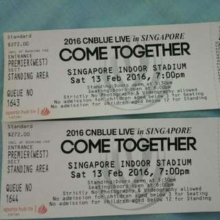 CNBLUE SINGAPORE TOUR CONCERT Catergory 1 Standing TICKETS - 1 PAIR