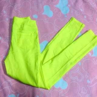 Pazzo螢光黃🏵內搭鉛筆褲