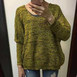 芥末黃 混色毛衣