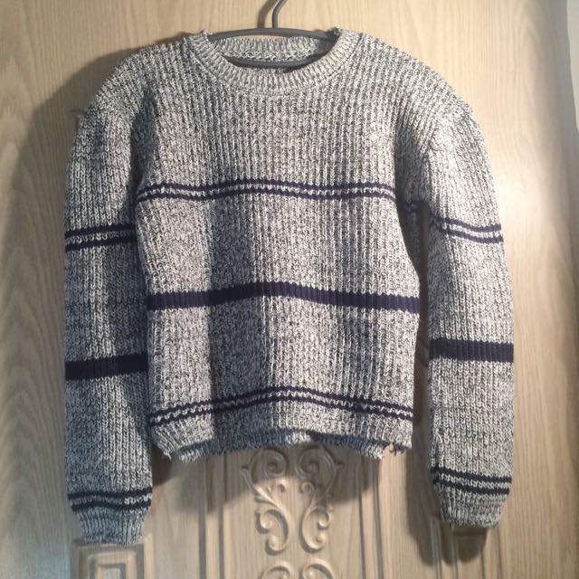 全新藍色條紋針織毛衣