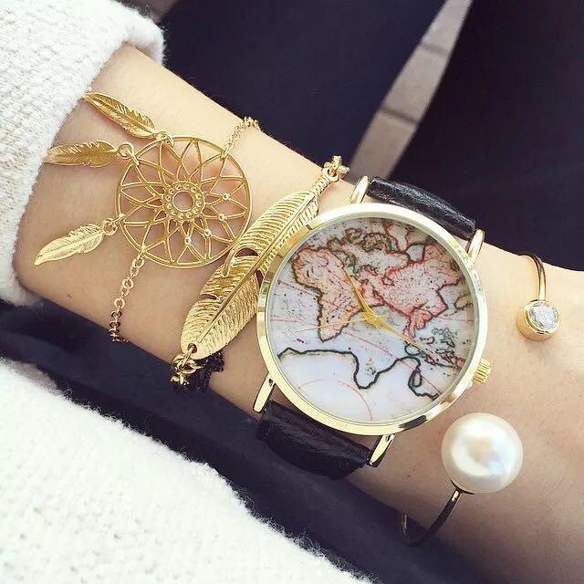 復古溫潤質感地圖手錶