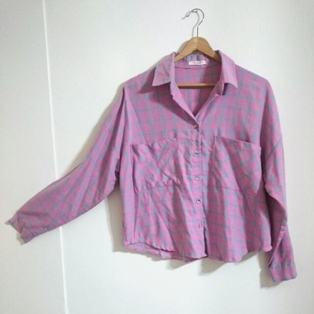 方形微鬆~粉紅藍格棉質襯衫