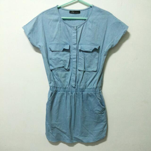 水藍縮腰洋裝