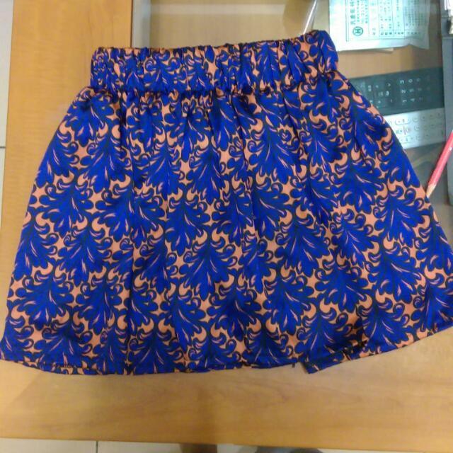 印花小傘洋短裙(寶藍褐)