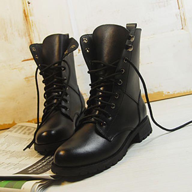 ✨歐美明星同款綁帶馬丁靴騎士靴✨