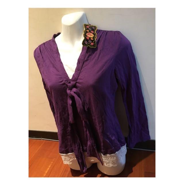 全新*夢幻紫長袖假兩件蕾絲蝴蝶結長上衣-下擺蕾絲