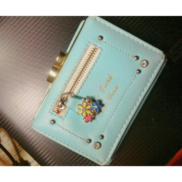 藍色小花錢包短夾