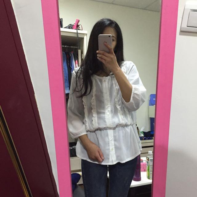 韓國購回 白色顯瘦上衣