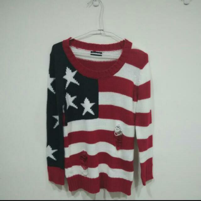 (降!)二手 美國國旗毛衣