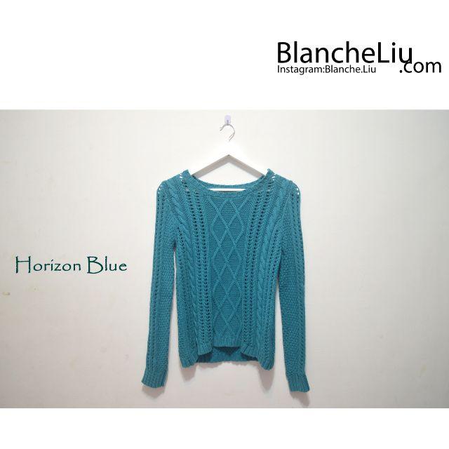 微文青 地中海藍綠 顯瘦針織毛衣