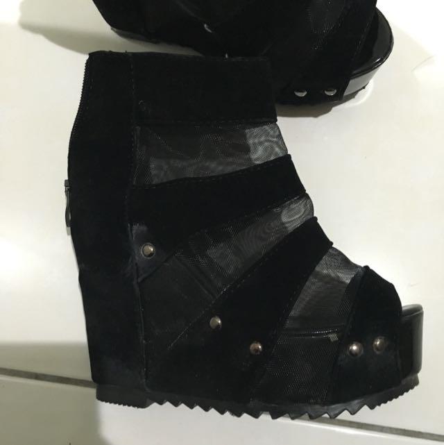絨布 網狀 楔型鞋