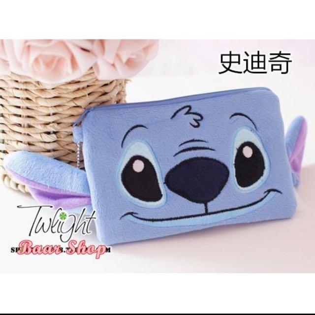 迪士尼米奇 米妮 史迪奇 毛怪 大眼怪 草莓熊  可愛錢包 手機包 化妝包 多用收納包