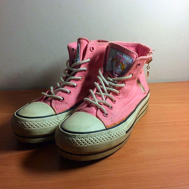 Ann's 粉紅色厚底帆布鞋 35號