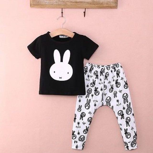 5f34224c9b6a Baby Kids 2 Pc Black Miffy Top White Bunny Print Pants PJs Set ...