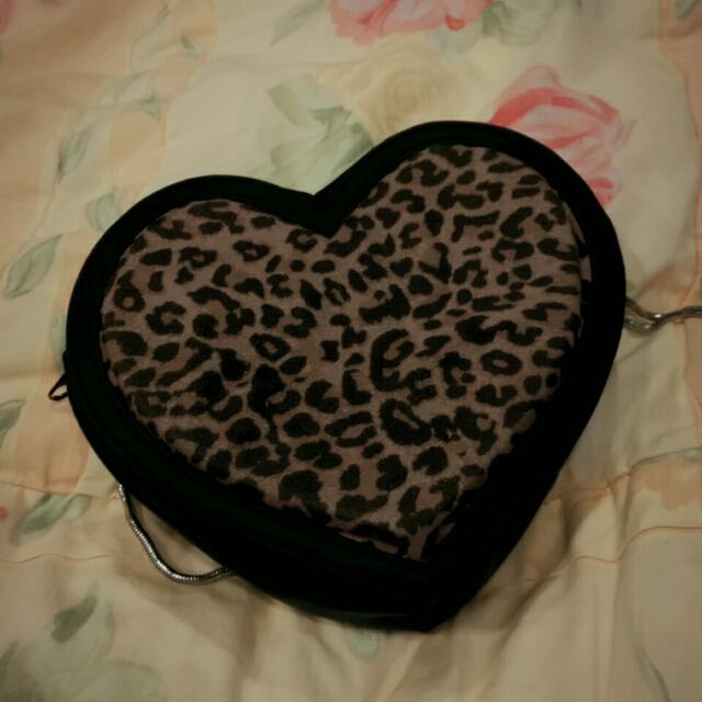 H&M 愛心豹紋毛呢包 肩背 側背