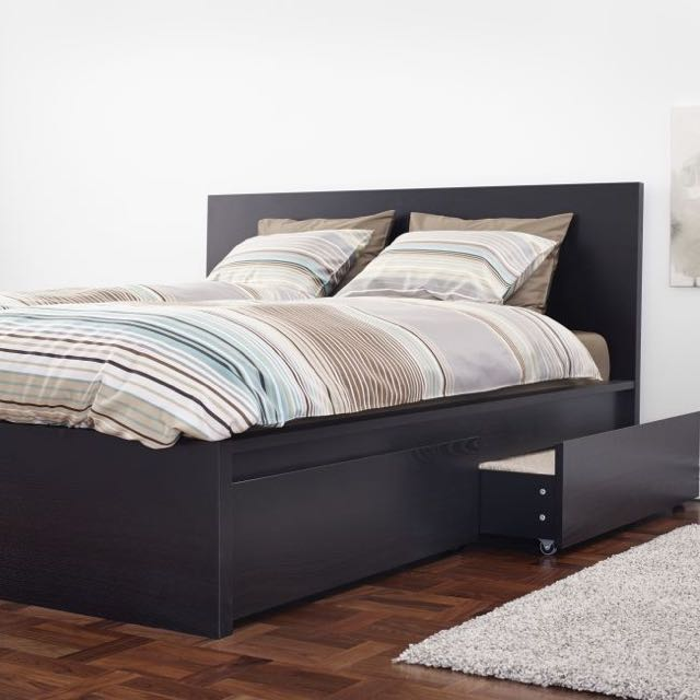buy online 4f1ea 1137c Ikea Malm Bed frame With Four Drawers, high, black-brown ...