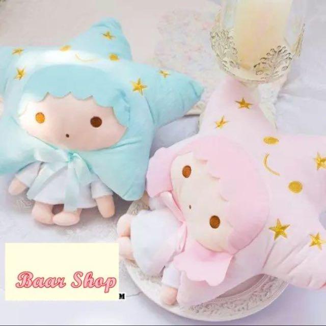 little twin stars雙子星五角星情侶抱枕+毯子 兩用