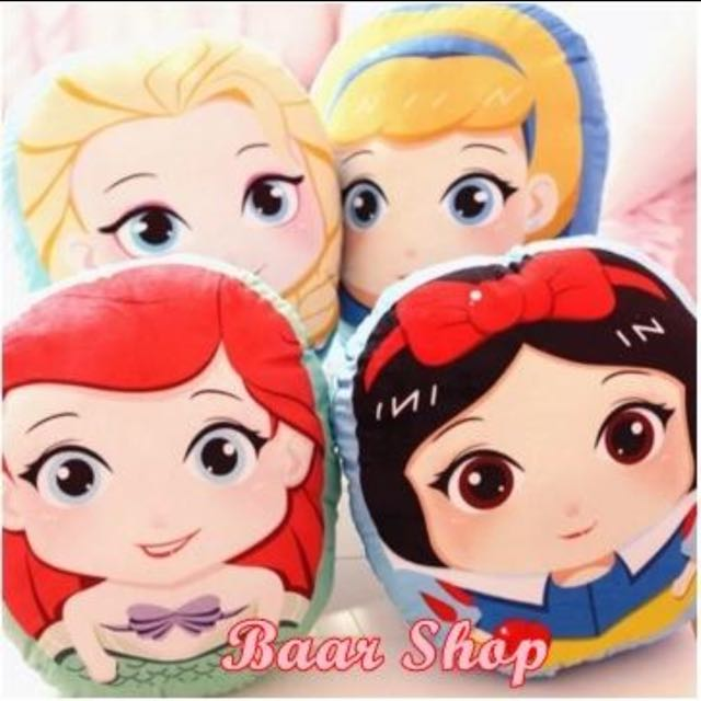 迪士尼大眼睛Q版 白雪公主 美人魚 灰姑娘 愛莎 小抱枕 玩具