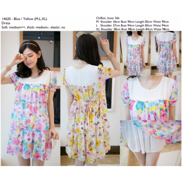 SALE DISKON Dress ImportBiruKuning ChiffonCinaKorea Style