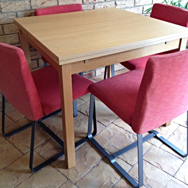 Table and 4 x Red Chairs