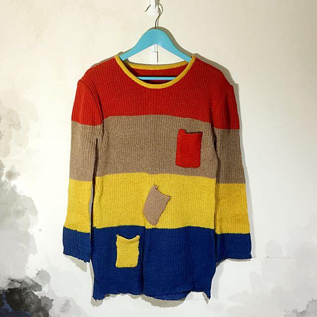 童趣拼接色塊針織口袋毛衣 橘卡其黃藍