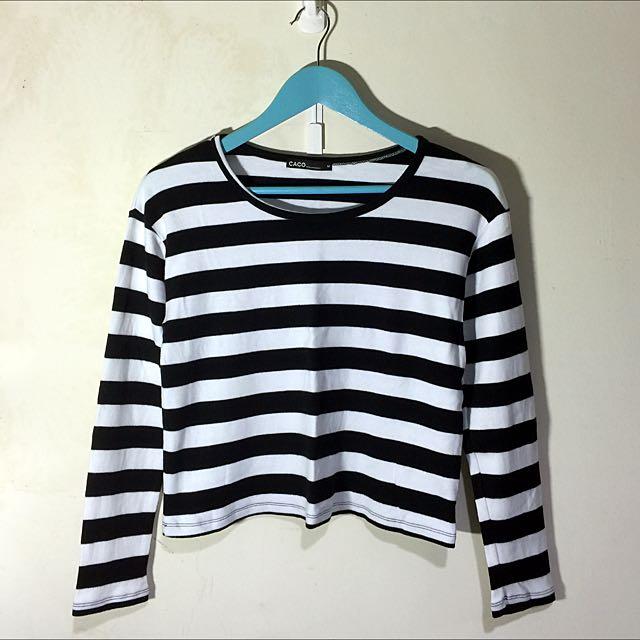 100含運 CACO 黑白粗條紋短版上衣 M號