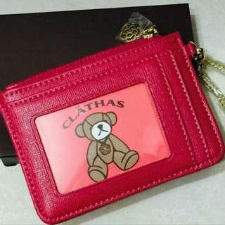 日本CLATHAS經典山茶花圖騰卡夾零錢包(台灣限定款),俏皮桃紅色,全新品未拆,只拆開拍照。