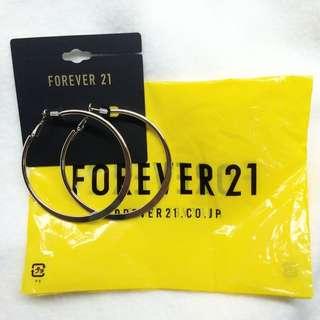 FOREVER 21圓環耳環(銀)