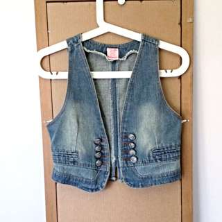AG Denim Vest with Split Back Buckle Detail