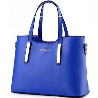 手提包 都會簡約金屬裝飾側背 天藍色