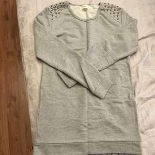 日貨phebely 灰色肩膀鉚釘洋裝